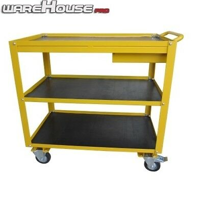 New 200KG 3 Tier Steel Hand Trolley / With Utility Draw / Non Marking Wheels