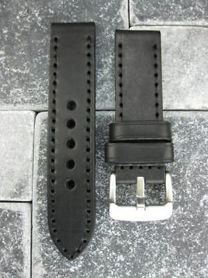 24mm NEW COW LEATHER STRAP Watch BAND PAM 24 Black Stitch