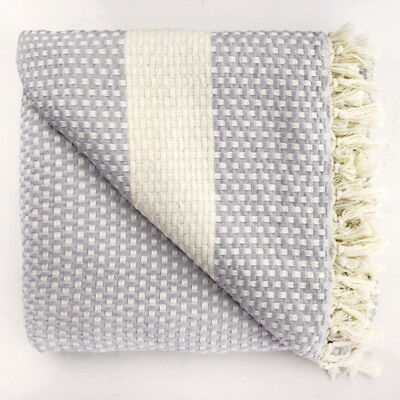 Queen Size Soft Grey Waffle Turkish Throw Blanket Woven Rug Tassels Bed Cover