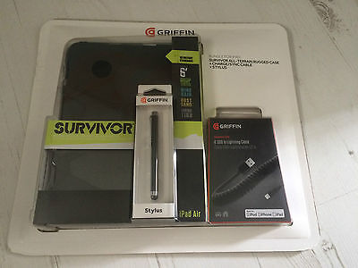 "Griffin Survivor Bundle for iPad Air Case, Stylus Pen and 4"" Lightning Cable New"