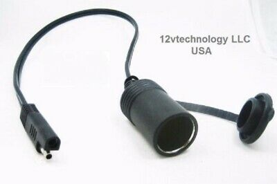 """SAE 18"""" Connector Adapter 12V Lighter Truck 16 AWG Power Trailer Plug Cable"""