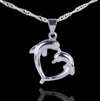 """Love Heart Sterling Silver Dolphin Necklace Pendant with 18"""" Chain Gift Box L32"""