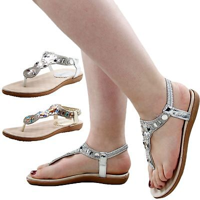 New Ladies Strap Sandals Tow Post Women Shoes Sequince Soft Padded Sole Mules