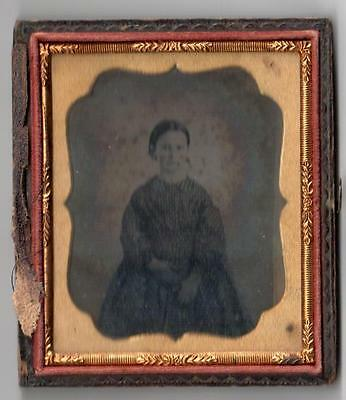 Antique 1/6 Plate Ambrotype In Rare Case Mary R. Stevens (Gould) Child 1849-1903