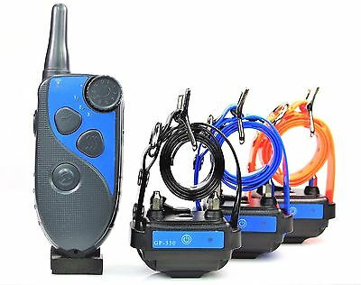 GROOVYPETS Waterproof  Rechargeable 600M Remote Three Dog Training Shock Collar