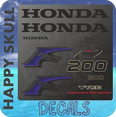 Honda 200 hp Four Stroke outboard engine decal sticker set reproduction