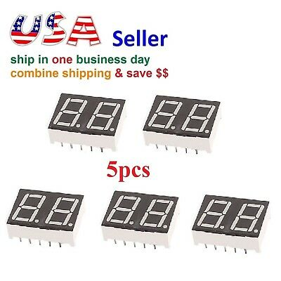 5pcs 2 Digit Red 7 Segment LED Display Digital Tube Common Anode 10 Pins Arduino