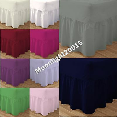 Plain Dyed Fitted Valance Sheet Poly-Cotton Bed Sheet Matching  Pillow Cases