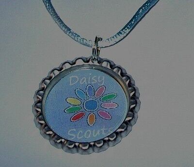 Daisy Scout Bottlecap Necklace With  Cords Brownies Girl Scout Gift