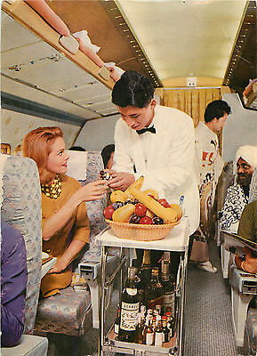 Meal Service on the Convair 880-M Jet ~JAPAN AIRLINES~ Great Old Postcard, 1960