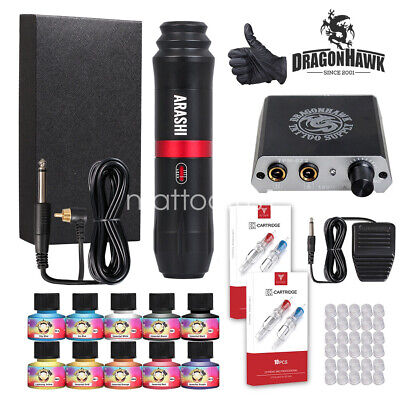 Complete Tattoo Kit Set 40 color Inks Power Supply 2 TOP Machine Guns HW-9ND-13