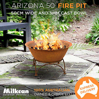 CAST FIREPIT RUST ARIZONA Outdoor THICK Bowl - Open Fireplace Heater Water Bowl