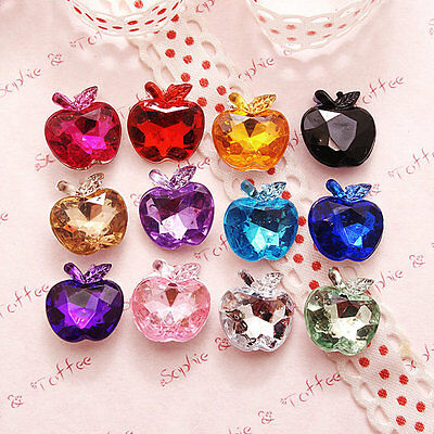 Apple Shaped Faceted Acrylic Rhinestones Gems Pointed Back Set of 50pc Assorted