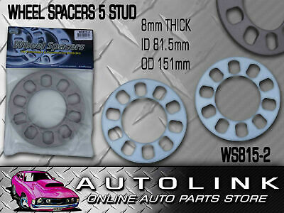 WHEEL SPACERS SUIT 5 STUD ALLOY MAG RIM PAIR 8mm THICK UNIVERSAL HOLDEN FORD