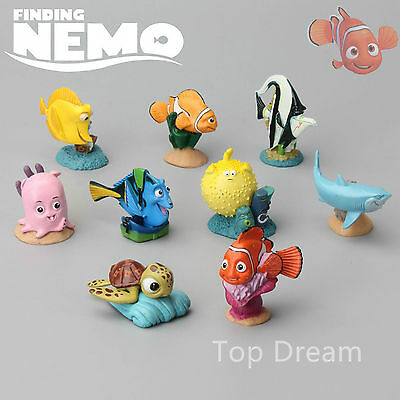 9pcs Finding Nemo Figures Marlin Dory Bruce Clown Fish Birthday Cake Topper Toys