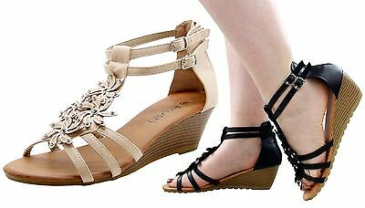 New Ladies Strap Medium Wedge Heal Sandals  Women Shoes Sequince Peep Tow Mules