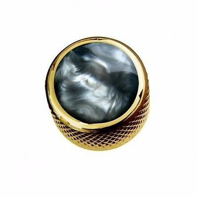 NEW Q-Parts Dome Knob - ACRYLIC BLACK PEARL ON GOLD - KGD-0051 Guitar Bass