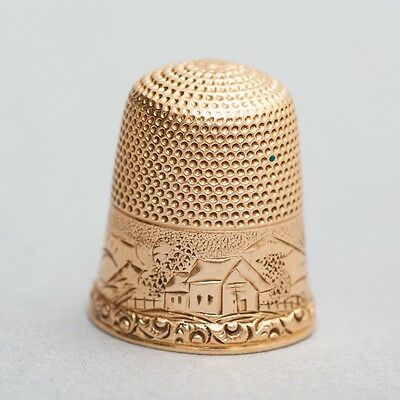 Antique Simons Brothers Co. 14k Yellow Gold Thimble Size 8 Engraved Farm Scene