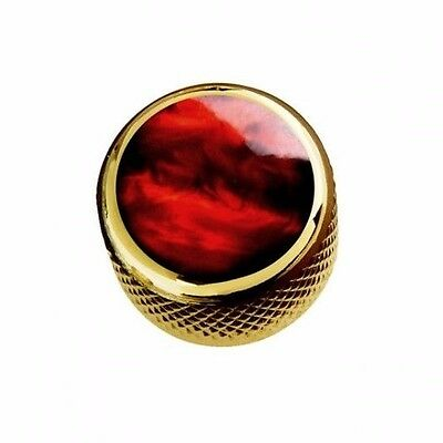 NEW Q-Parts Dome Knob - ACRYLIC RED PEARL ON GOLD - KGD-0057 for Guitar or Bass