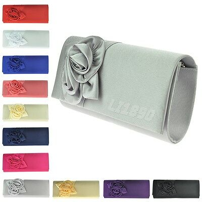 Womens Ladies Satin Floral Pattern Wedding Party Prom Evening Clutch Bag Handbag