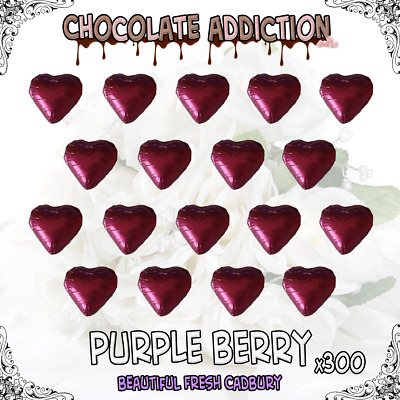 300 Purple Berry Milk Chocolate Hearts - Wedding Favours - Candy - Parties