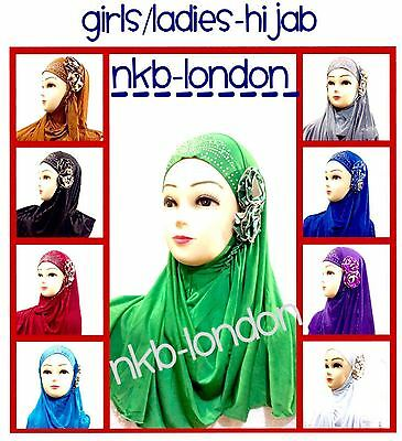 Muslim Kids Girls Ladies Hijab Islamic Headscarf Flower Hijab Scarf Shawls