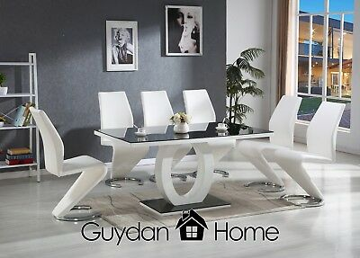 VENICE Black & White High Gloss Glass Dining Table Set And 6 Leather Chairs !