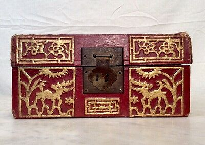RARE Antique Chinese 19th Century Red Pigskin Lacquered  Box