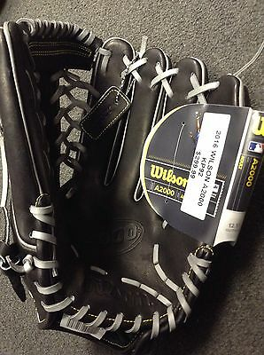 "NWT 12.5"" Wilson A2000 KP92 Baseball Glove BLACK/GREY"