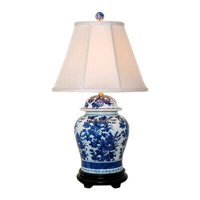 Beautiful Blue and White Porcelain Ginger Jar Table Lamp Floral Pattern 28.5""