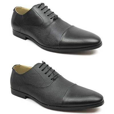 New Men's Black Cap Toe Dress Shoes Herringbone Optional Lace Up Oxfords By AZAR