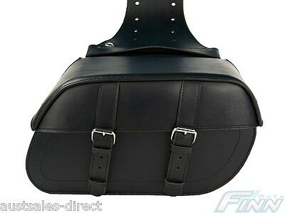Black Motorcycle Saddlebags Universal Luggage Panniers Fit Water Resistant Solid