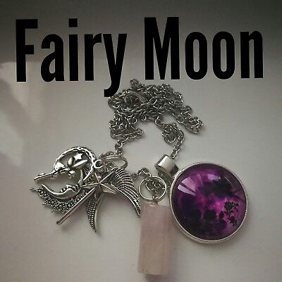 Code 472  FAIRY MOON Rose Quartz Archangel Ariel Infused Necklace Wand Wings New