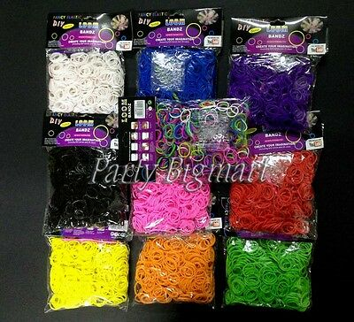 Bulk Sale 6000pcs (10packs x 600pcs) Assorted Rainbow Loom Bands Clips Hooks-AU