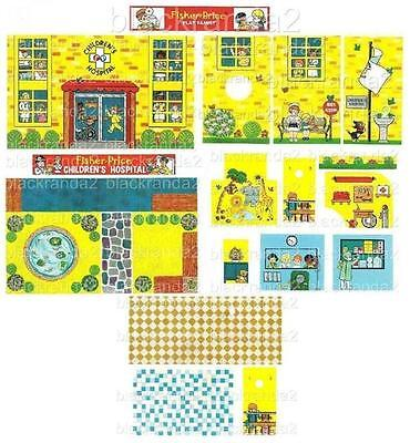 Vntg Fisher Price Little People 931 Hospital Replacement Lithos Stickers Decals