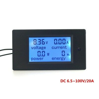 DC100V 10A 20A Digital Blue LCD Combo Panel Meter Volt Amp Power Watt Test