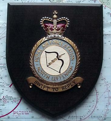 Old RAF Royal Air Force North Luffenham Station Squadron Crest Shield Plaque