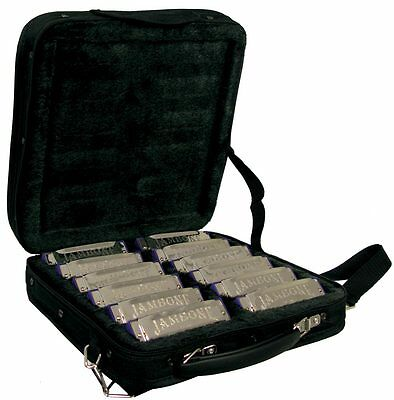 HARMONICA SET IN CASE. Set of 12 10-hole BLUES HARPS in a case. From Hobgoblin