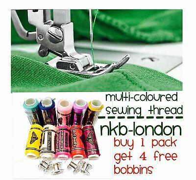 Sewing Thread Multi Coloured Packed With Free Bobbins Polyester Quality Thread