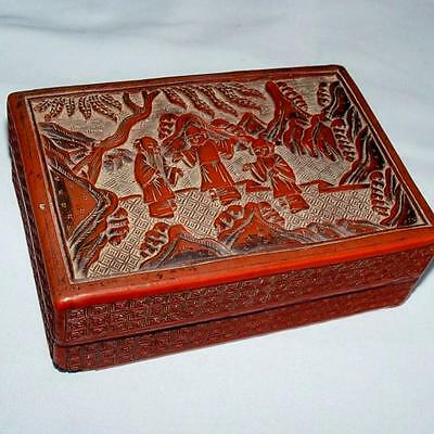 ANTIQUE CINNABAR RED CHINESE DEEPLY CARVED LACQUER LIDDED BOX 19th c
