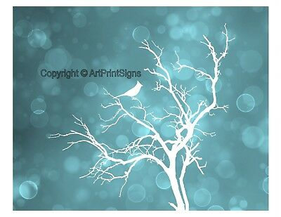 Teal White Home Decor Bird Silhouette Tree Wall Art Photo Print Matted Picture