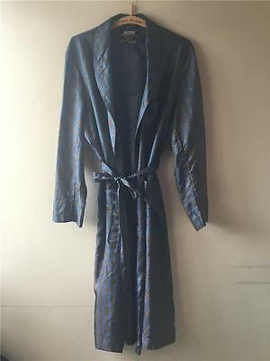 Vintage 1940s/50/60s Navy Blue St.Michael SMOKING JACKET Dressing Gown Robe M L