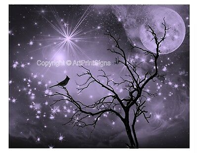 Purple Black White Home Decor Bird Silhouette Tree Sky Wall Art Photo Print Mat