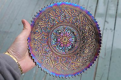 Northwood Hearts And Flowers 9 Inches Plates , Amethyst / Purple , Iridescent