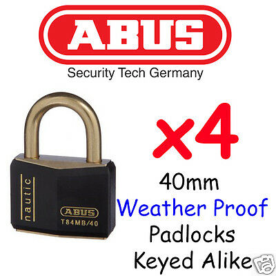 40mm Marine Outdoor Padlocks x4 - ABUS -  KEYED ALIKE BULK LOT HighQuality