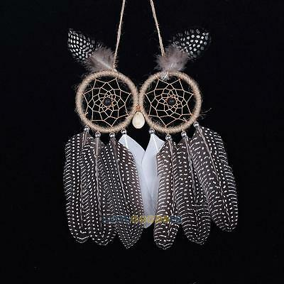 Handmade Dream Catcher With Feathers Wall Hanging Decoration Ornament-Owl Brown