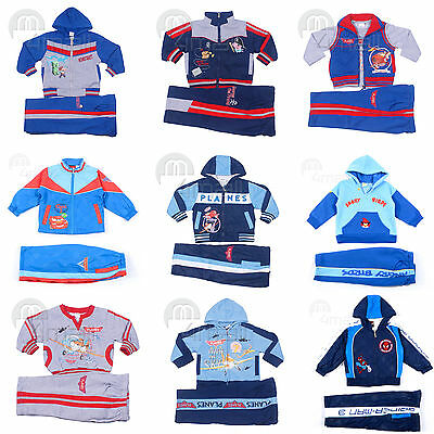 Kids Boys Hooded Jumper Jacket Tracksuit Track Pants Winter Sports Outfit Set Sz