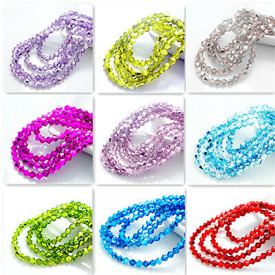 New color 200pcs bicone crystal glass loose spacer 4mm beads DIY