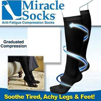 Miracle Socks  Unise Anti-Fatigue Dvt Compression Travel Flight Sock (Pair)