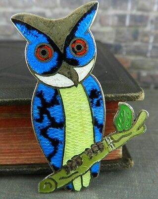 Signed JF Taxco Mexico Sterling Silver Blue Enamel Owl Pin / Brooch